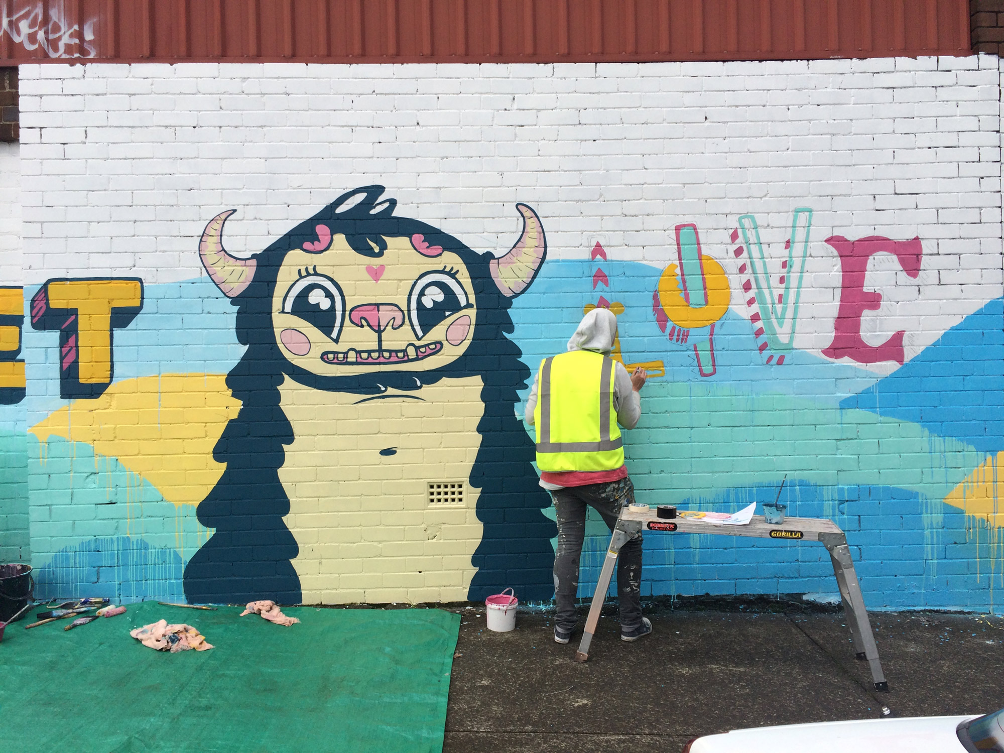 the-art-of-wall-marrickvillie-monster-mural-progress