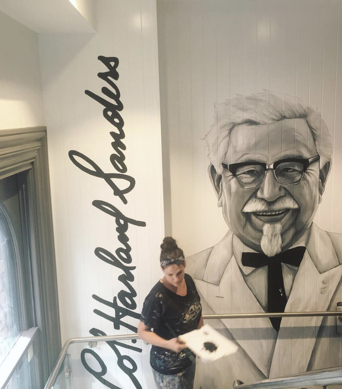 the-art-of-wall-KFC-sydney-colonel-sanders-portrait-mural-painted-by-artist-Stacey-Keating2