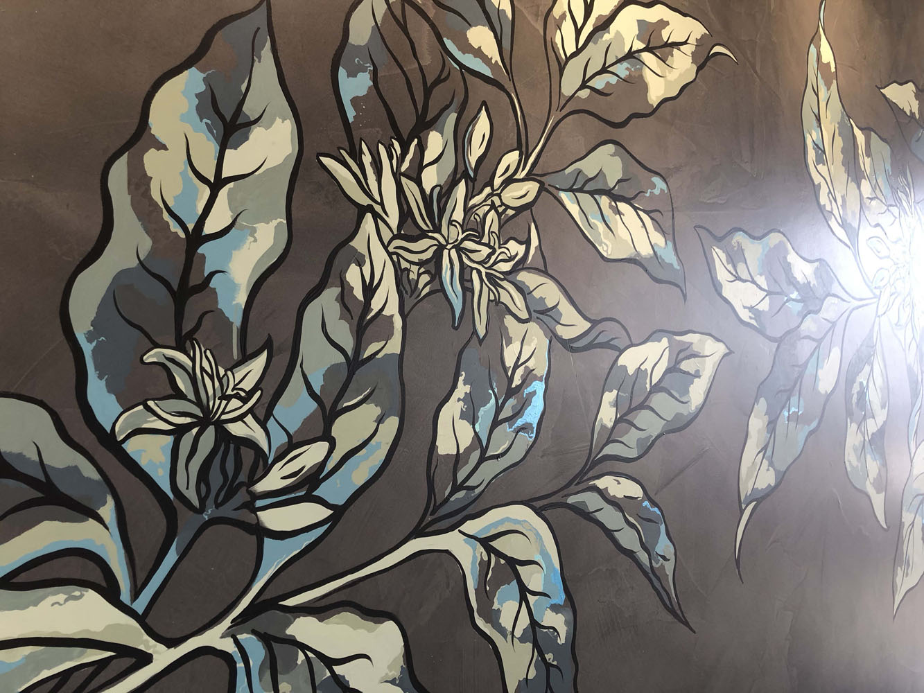 the-art-of-wall-Starbucks-caboulture-botanical-coffee-branch-wall-art-mural-2